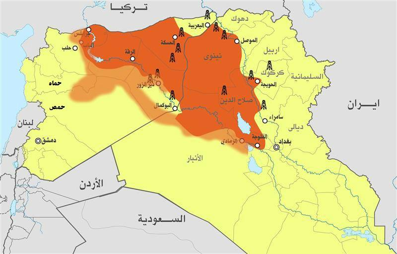 نقشه مناطق تحت تصرف داعش
